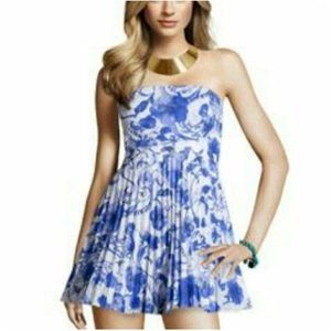 NEW H&M Strapless Pleated Blue White Dress Size 12